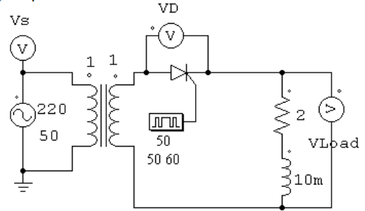 Half Wave Rectification with Thyristor using Inductive and