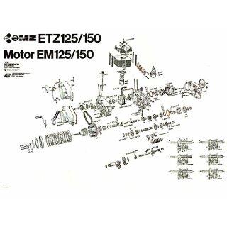 Explosionszeichnung Motor Getriebe MZ ETZ 125 150, 14,99