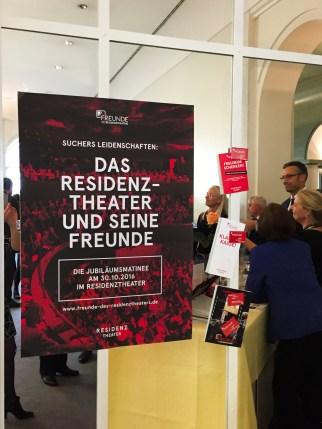 """""""Suchers Leidenschaften: Das Residenztheater und seine Freunde"""" - die von uns organisierte Jubiläumsmatinée der Freunde des Residenztheaters e.V. am 30.10.2016 im Residenztheater."""