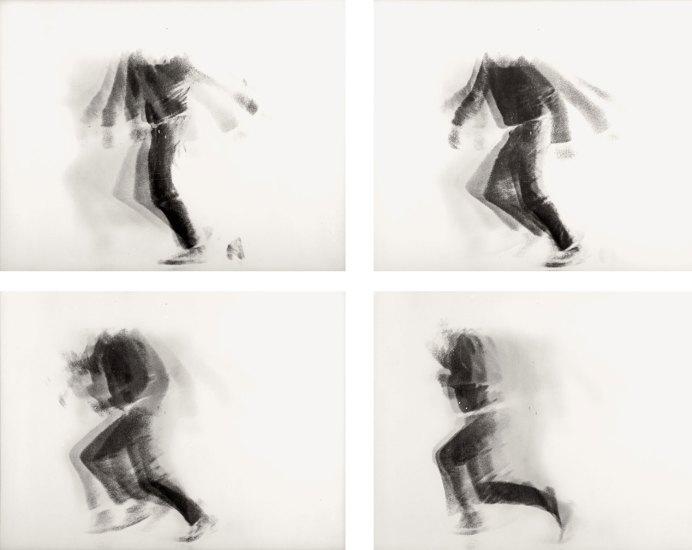 Alfons Schilling The Falling Man, 1969 Linsenrasterfotografie, 4 Ansichten © Nachlass Alfons Schilling