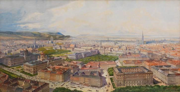 Wien aus der Vogelschau vom Getreidemarkt aus, 1904 Erwin Pendl © Wien Museum