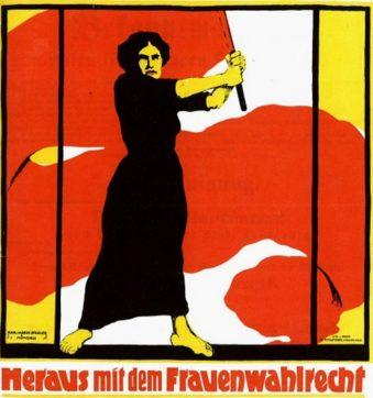 Plakat zum Frauentag 1914 - Kämpferin für das Frauenwahlrecht