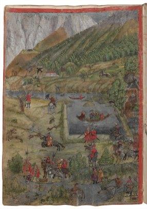 Wiese bei Stift Stams (u. a. Osmane auf der Jagd), Tiroler Fischereibuch – © Österreichische Nationalbibliothek