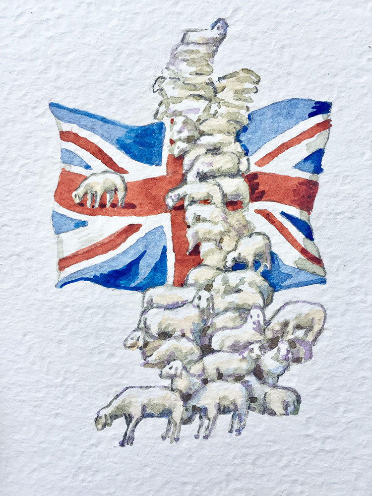 15. 3. 20 God save the sheep (cm 15x10 acquerello su carta copia)