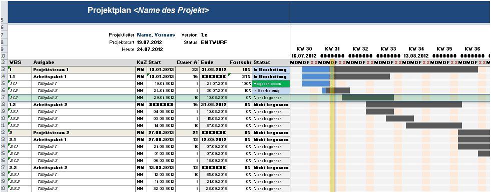 Kostenlose Vorlage Fur Einen Projektplan In Excel Kulturmanagement