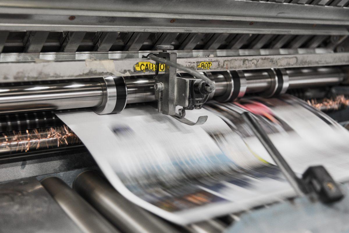 Druckerpresse in einem Medienunternehmen