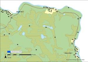 De två områdena som är aktuella för förundersökning. Delområde 1 vid Aareavaara och delområde 2 vid Kolari © Lantmäteriet Medgivande i2013/0060