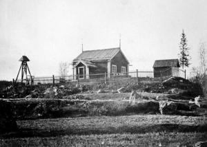 Troligen såg kyrkan i Silbojokk ut ungefär såhär. Bilden visar gamla kapellet i Kvikkjokk, byggt 1764.