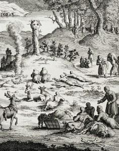 Gravyr föreställande en samisk offerceremoni, ur Cérémonies av Bernard Picart (1673–1733).