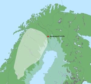 Ungefär så här bör kartan ha sett ut för ca 10700 år sedan i Norrrbotten. Aareavaaraboplatsen är utmärkt. ©Norrbottens museum. (©Lantmäteriet Medgivande i2013/0060)