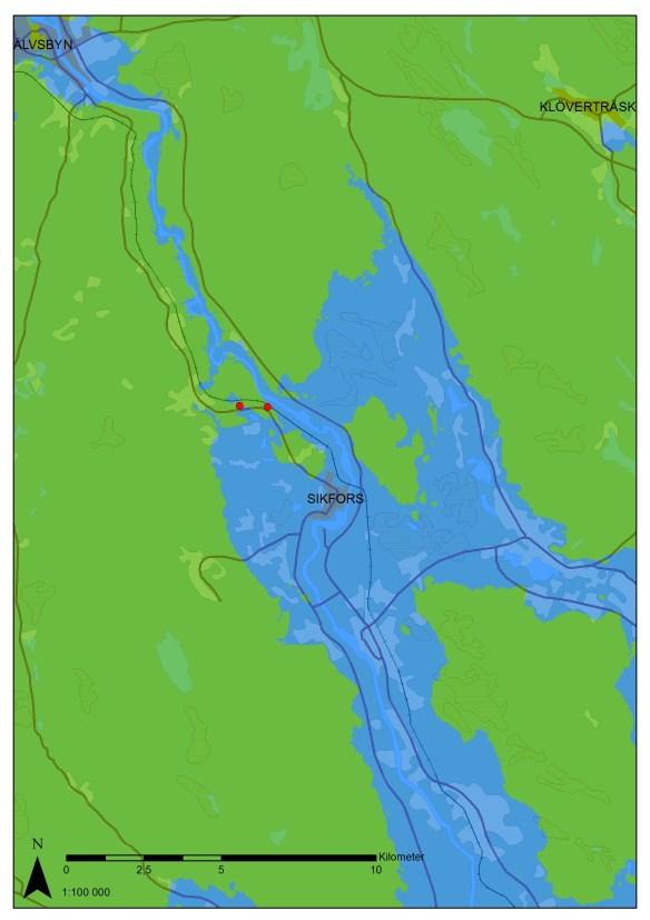 Kartbilden visar hur delar av Norrbottenskusten såg ut när havet stod ca 50 m över dagens nivå, vilket motsvarar tiden omkring 2600 f.Kr. Boplatserna som ingår i slutundersökningen syns i form av de röda prickarna på kartan. ©Lantmäteriet Medgivande i2014/00695