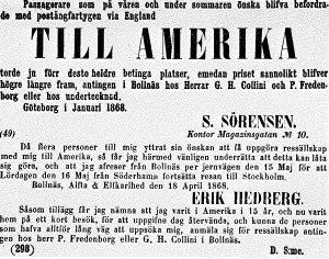 Agenter och emigrantvärvare hade bra tider under svältåren 1867-1869. Annons ur tidningen Helsingen.