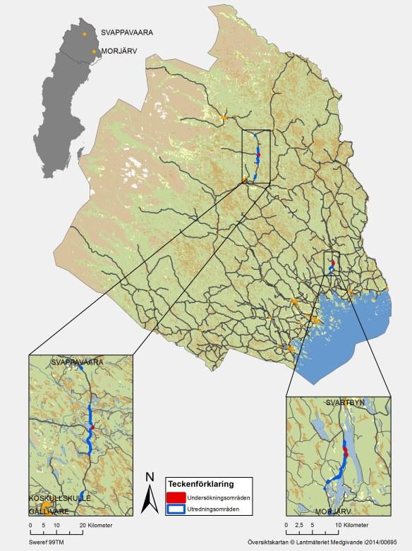 Karta över utrednings-, och undersökningsområden, längs väg E10.