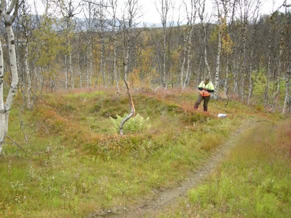 Sara Hagström-Yamamoto registrerar en av många husgrunder längs Rallarvägen - stigen nere till höger i bild. Foto: Åsa Lindgren (CC BY)