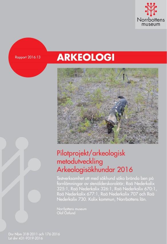 Framsida för 2016 års arkeologisökhundsrapport