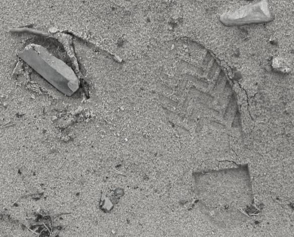 Stenen till vänster om skoavtrycket i bilden ovan är en av de två delar från ett nordbottniskt redskap som påträffades på Raä 418:1. Foto Olof Östlund ©Norrbottens museum.