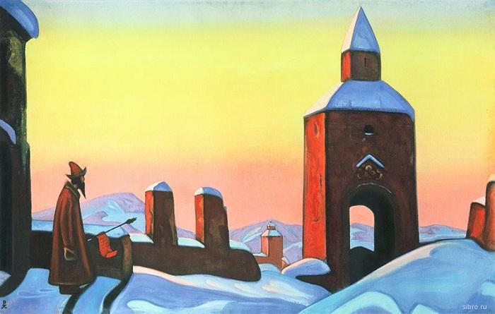 Н.К. Рерих. «Весть Тирону». (1940). Холст, темпера. 76 х 122. Государственный музей искусства народов Востока. Москва.