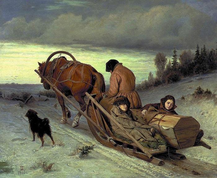 Проводы покойника. (1865). Автор: В.Перов.