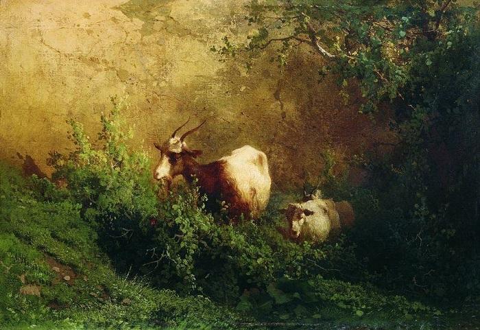 «Пейзаж с козами». (1868 год). Дагестанский музей изобразительных искусств. Автор: А.И. Мещерский.