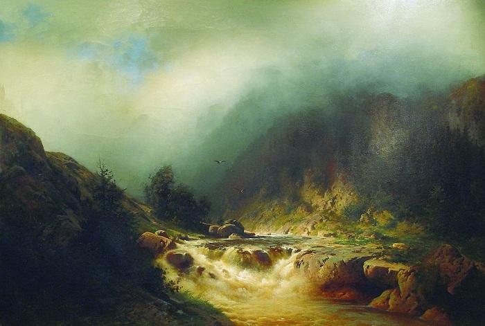 «Река в горах Швейцарии». (1870-е). Частное собрание. Автор: А.И. Мещерский.