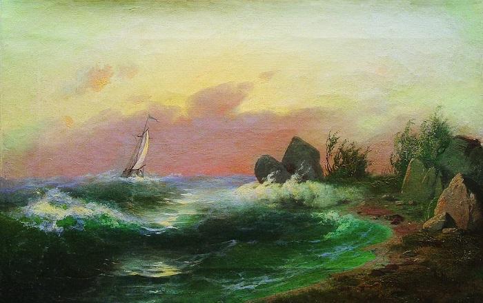 «Морской пейзаж». (1870-е). Частное собрание. Автор: А.И. Мещерский.