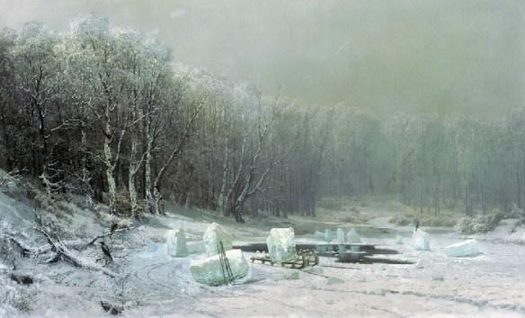 «Зима. Ледокол». (1878 год).Государственная Третьяковская галерея. Автор: А.И. Мещерский.