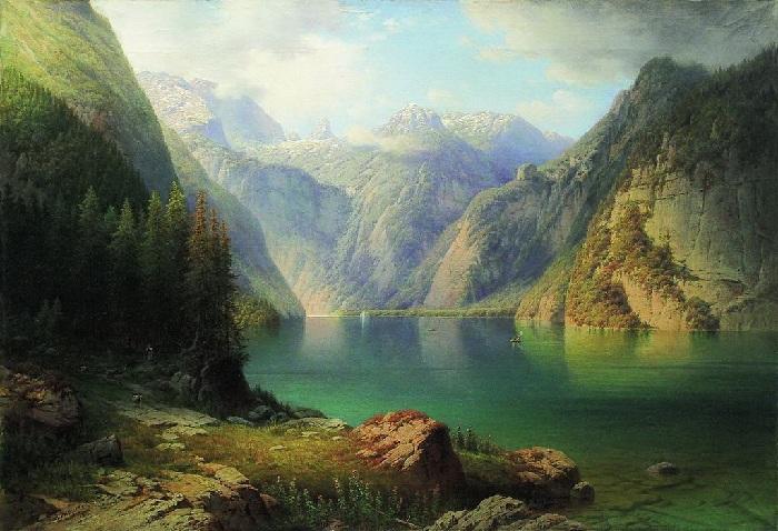 «Горное озеро». (1865 год). Автор: А.И. Мещерский.
