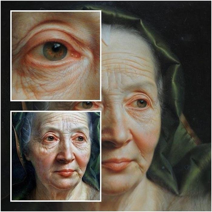 «Портрет пожилой женщины в зеленом шарфе». Фрагменты. Автор: Кристиан Сейболд.