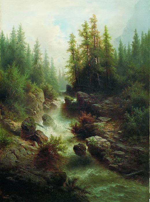 «Горный поток». (1880-е). Частное собрание. Автор: А.И. Мещерский.