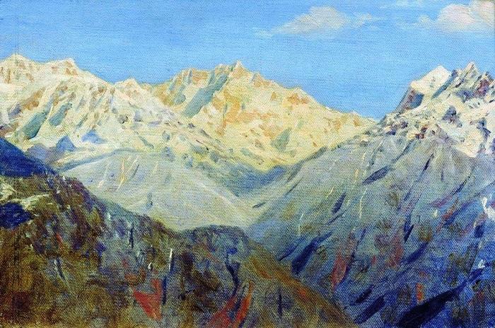Гималаи. Главная вершина. (1875).  Автор: Василий Верещагин.