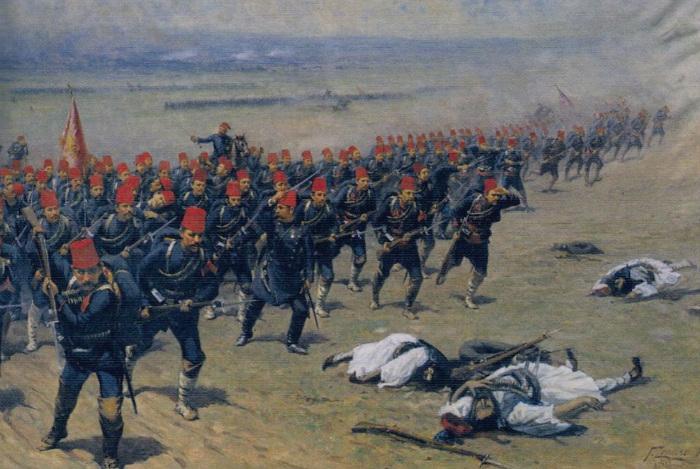 Турецкие солдаты, идущие в атаку.