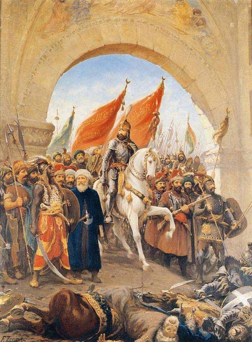 Взятие султаном Мехмедом Константинополя. В виде одного из спутников Мехмеда Дзонаро изобразил себя.