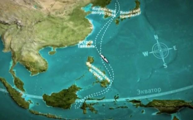 Маршрут советского круизного лайнера.