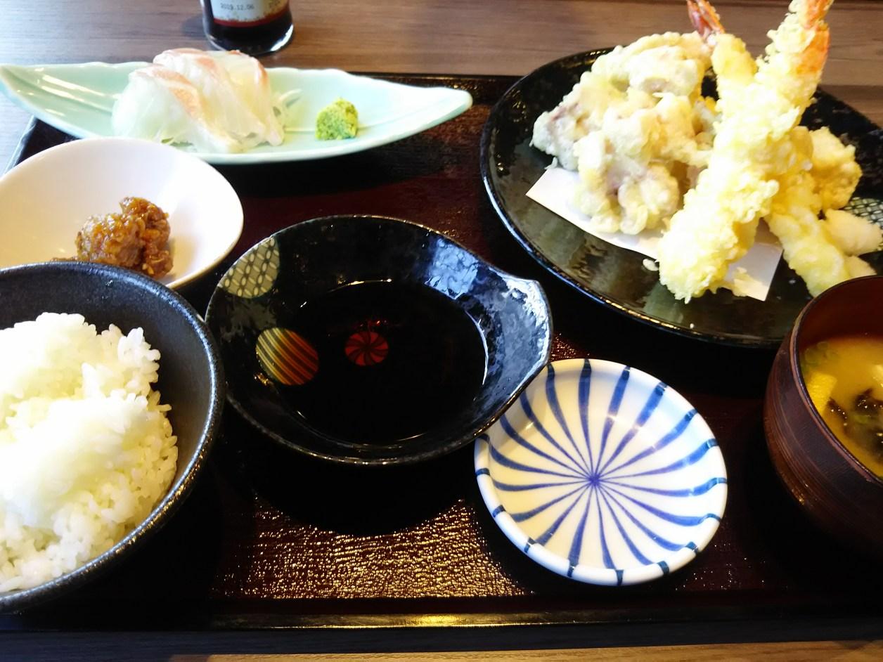 やりいかと海老の天ぷらBランチ
