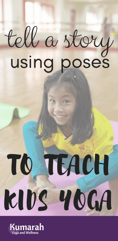 tell a story using poses to teach kids yoga, storytelling yoga for kids, girl doing yoga pose smiling in a class