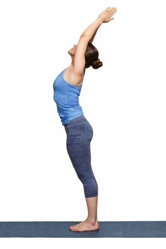 pose, yoga, tadasana, standing mountain, mountain pose, reaching, yogi woman, stretching