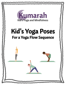 Kumarah Kids Yoga Poses for a Yoga Flow Sequence cover page with children doing tadasana, a girl in a hijab doing triangle pose, and a boy doing halfway lift