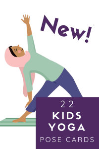 New 22 Kids Yoga pose cards for digital download, a girl in a hijab is doing triangle pose
