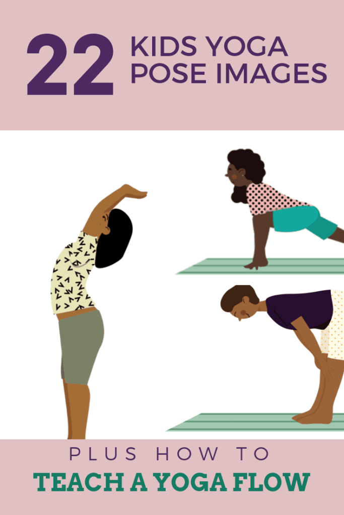 30 kids yoga pose images plus how to teach a yoga flow for kids, kids doing poses waterfall, low lunge and halfway lift