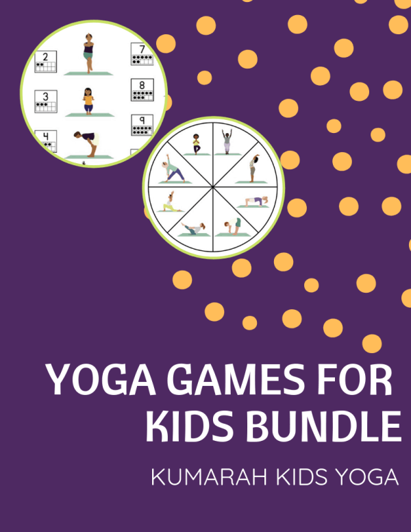 cover page of yoga games for kids printable bundle with two examples of yoga dice game and yoga spinner game