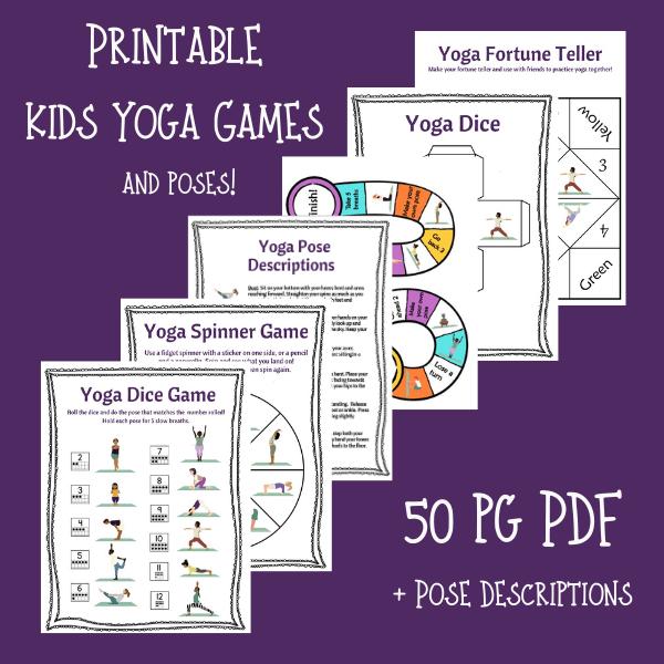 printable kids yoga games, yoga games for kids, diy yoga games for kids