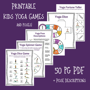 printable kids yoga games, yoga games for kids, diy yoga games for kids