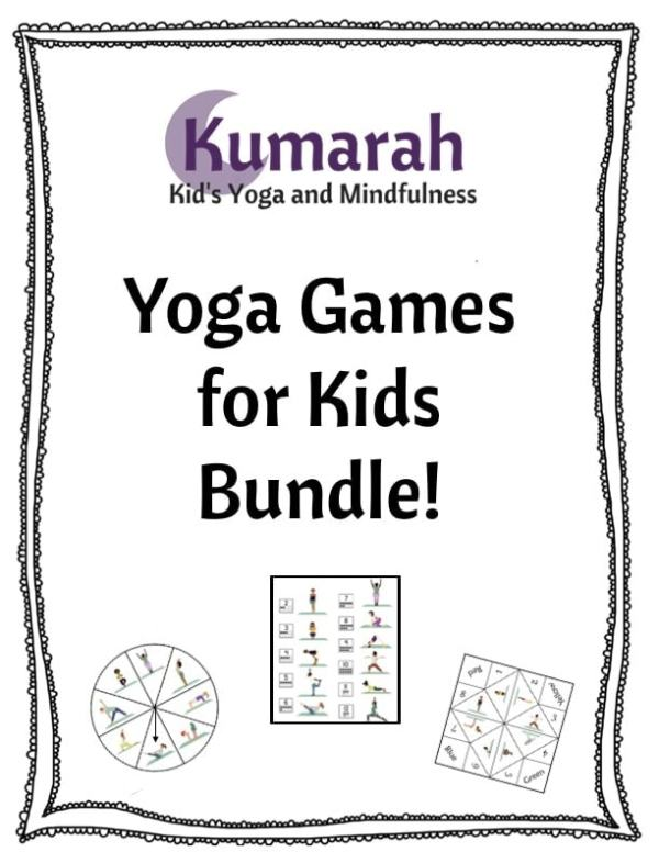 Kumarah kid's yoga and mindfulness, yoga games for kids bundle with examples of the yoga spinner game, yoga dice game, and foldable yoga fortune teller