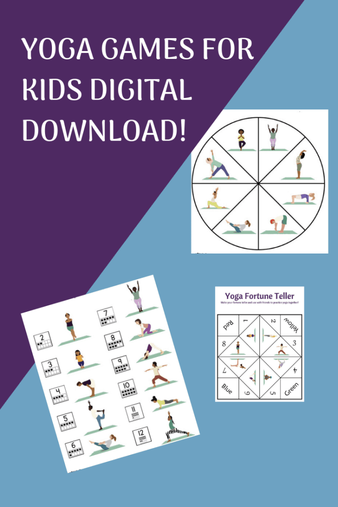 yoga games for kids digital download with printable yoga games for kids, yoga dice, yoga spinner game and yoga fortune teller