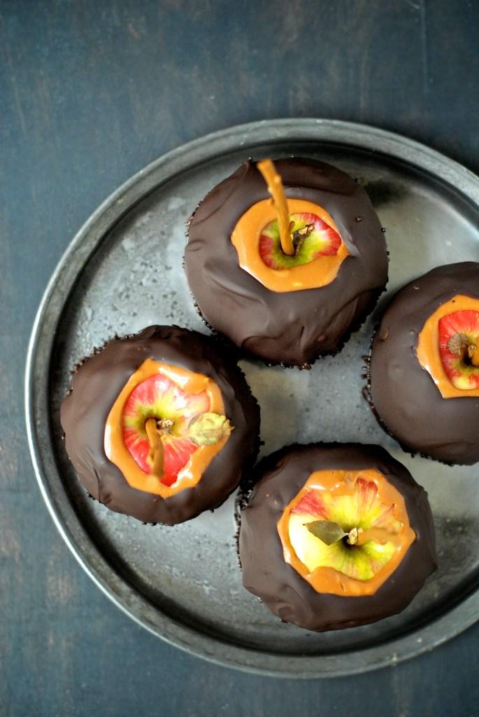 from kumquat   peanut butter-caramel dark chocolate apples