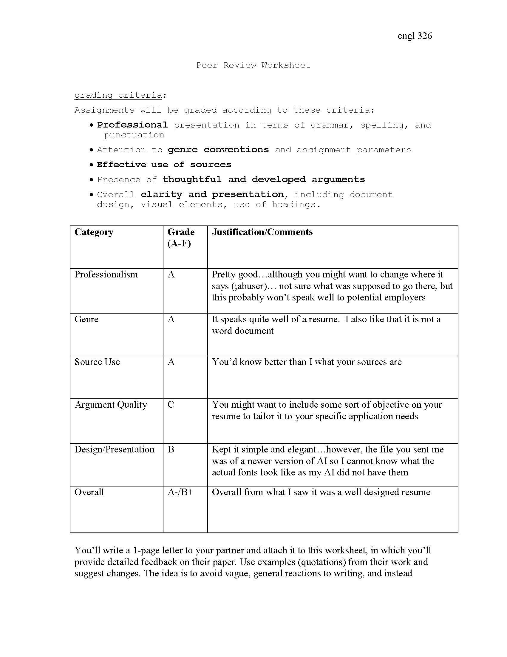 resume review worksheet