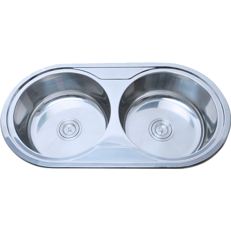 Stainless Steel Double Bowl Round Kitchen Sink P01