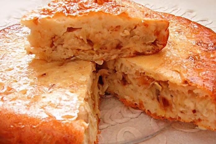 Капустный пирог с луком-пореем