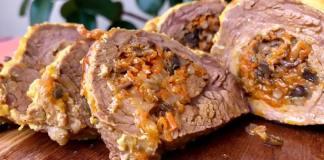 Мясо, фаршированное грибами