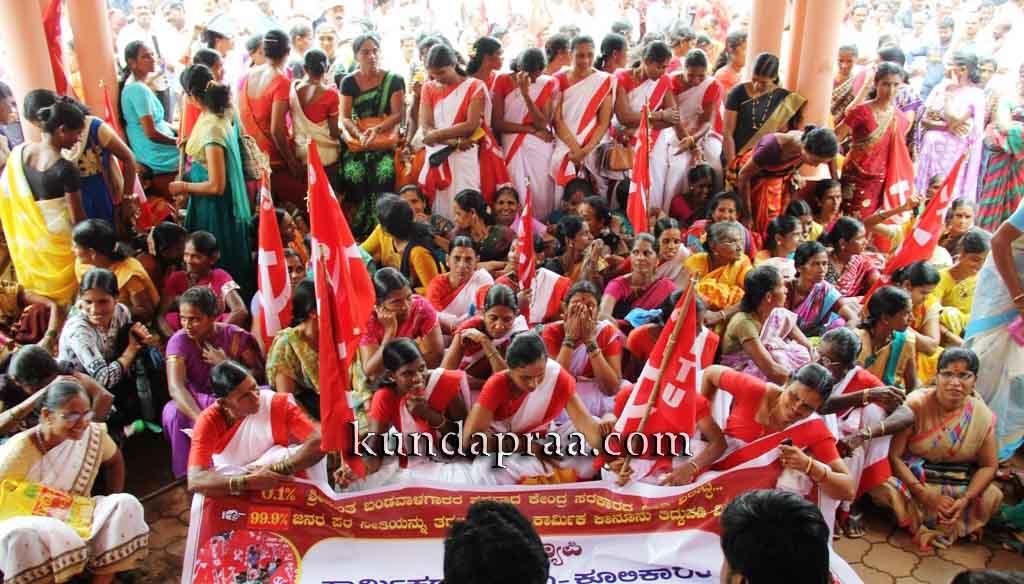 ಕೂಲಿ ಕಾರ್ಮಿಕರ ಜೈಲ್ ಭರೋ ಚಳುವಳಿ, ಬೃಹತ್ ಪ್ರತಿಭಟನೆ